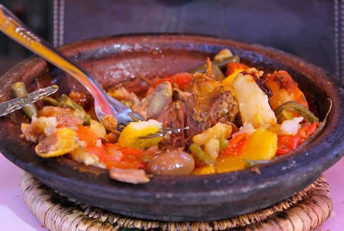 Marrakech, comida Jemaa El-Fna, tajine de cordero