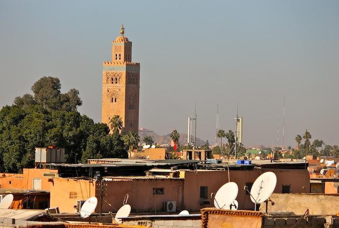 Marrakech, vista torre minarete principal